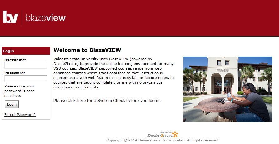 BlazeVIEW D2L Login Screen