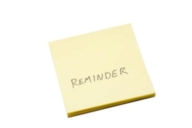 Yellow Post-It Note with Reminder text.