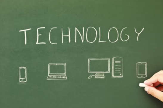 Technology written on Chalkboard