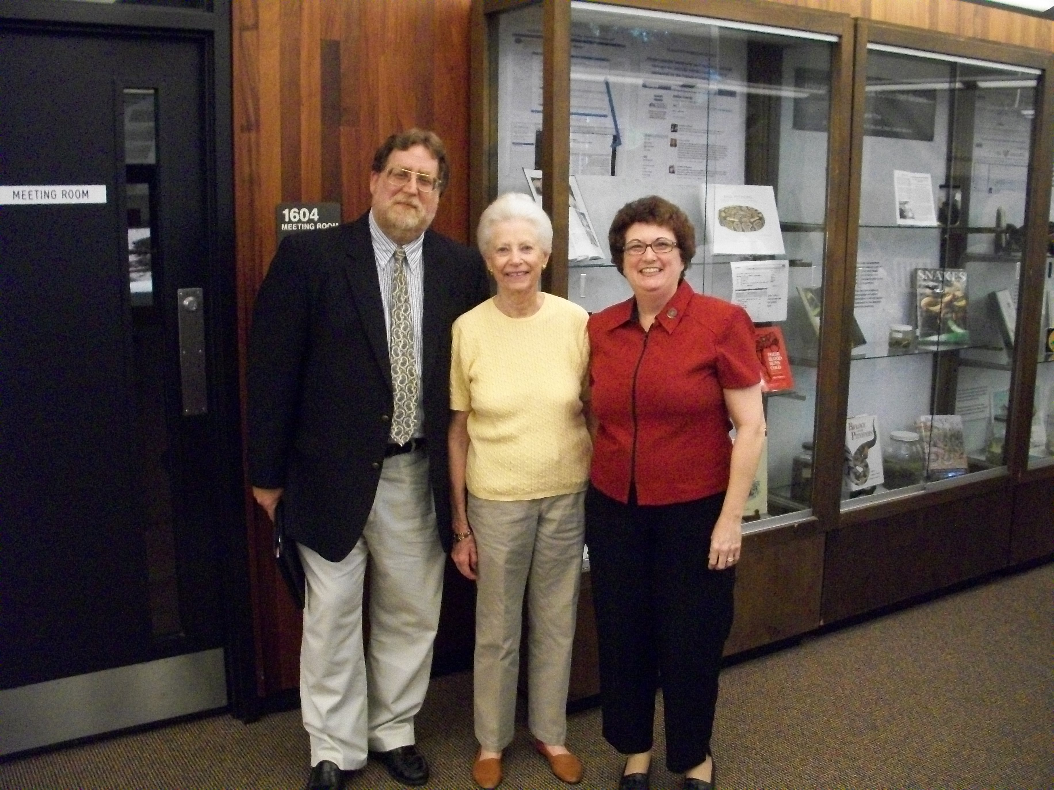 Dr. Alan Bernstein, Interim Library Director, Elizabeth Bechtel, and Sherrida Crawford, Library Biology Liaison.