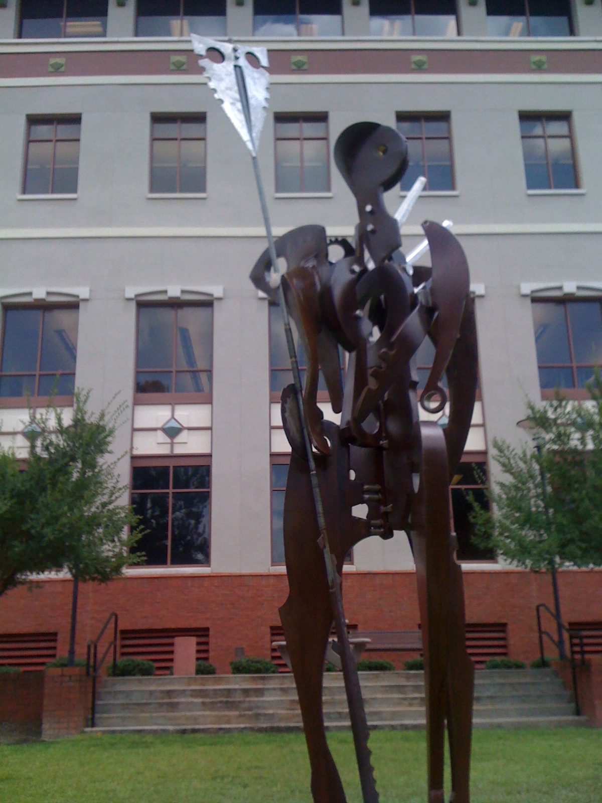 "Sculpture of ""The Guardian"" in steel and stainless steel"