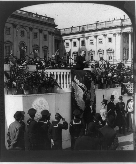 President Theodore Roosevelt delivering his inaugural address, Washington, D.C., 1905, courtesy Library of Congress