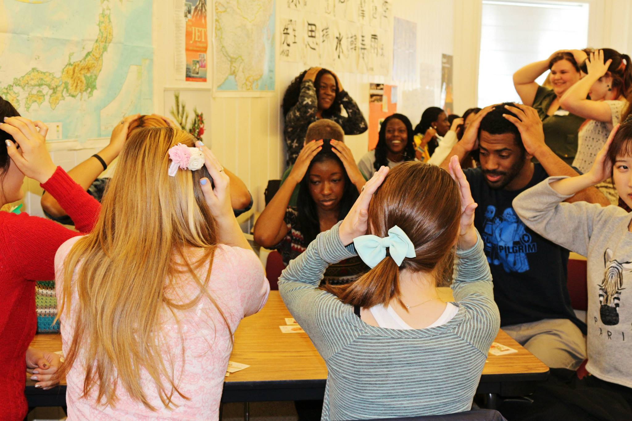 Students playing Karuta