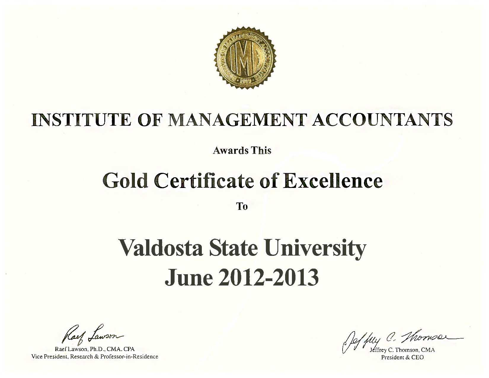 Golden Certificate of Excellence
