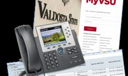 Phone, MyVSU logo, spreadsheet