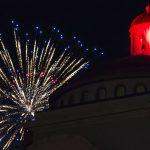 fireworks above West Hall