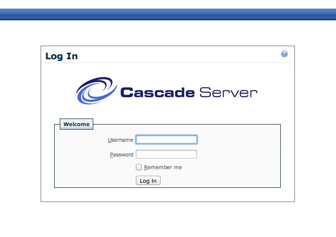Cascade Server Login Screen