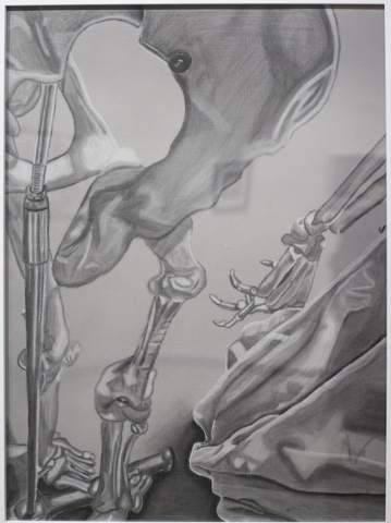 Emely Montes de Oca of Hialeah, Florida Toned Skeleton (Charcoal and White Conte Crayon) Honorable Mention